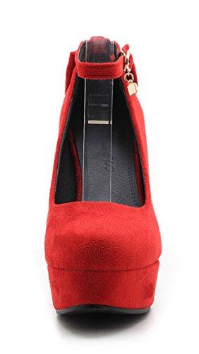 Ye Schleife 10cm Wildleder Mit Pumps Rot Damen Heels High Schuhe Elegant Absatz Party Riemchen Plateau rxawzr80q