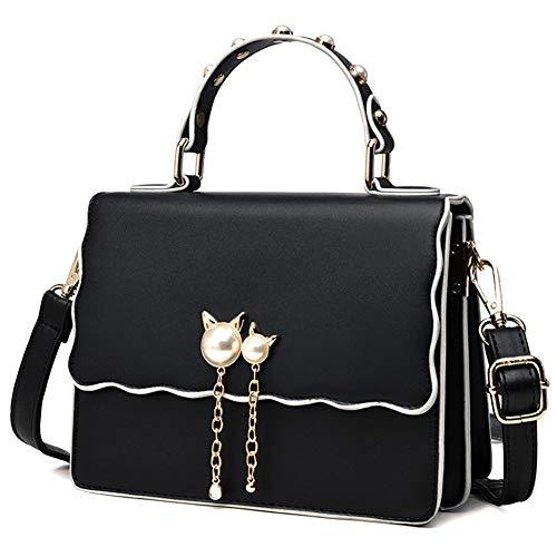 Mueka Damen Handtasche,Damen Damenhandtasche,Süßes Mädchen Mode Tasche, Perle Katze Anhänger (einfarbig)