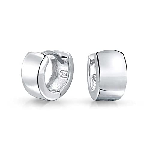 Bling Jewelry Modern Wide 925 Sterling Silver Huggie Hoop Earrings