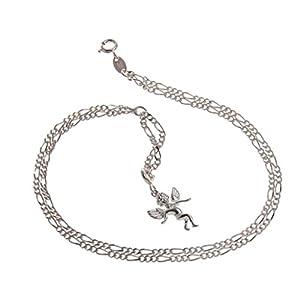 Fußkette (Figaro) 2reihig mit kleinem Anhänger Elfe – 2,2mm breit – echt 925 Silber – Länge von 23-30cm