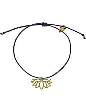 Smilla Brav Lotus Yoga Damen-Armband Chakra-Schmuck - schwarz / 14k goldplattiert - VH28