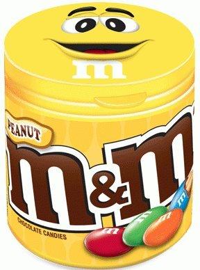 M&M's Boîte Plastique Refermable Contenant des Cacahuètes/Chocolat au Lait - Lot de 6