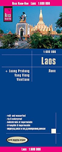 Laos, mapa de carreteras impermeable. Escala 1:600.000. Reise Know-How