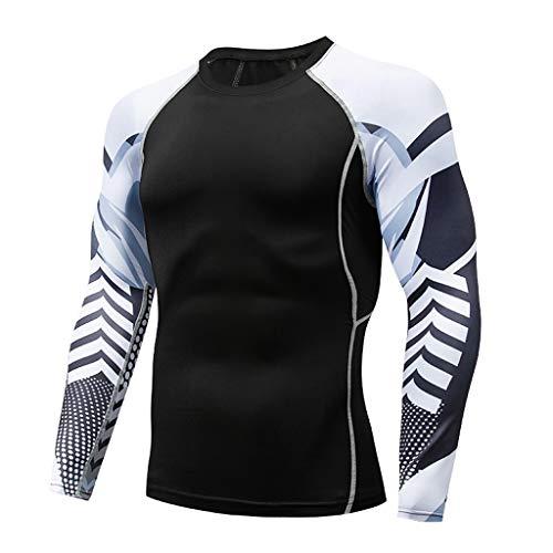 Herren Fitness Sweat Atmungsaktiv Sport Enges Langarmshirt, Bluestercool Mens Casual schnell trocknende elastische atmungsaktive Sport Tight
