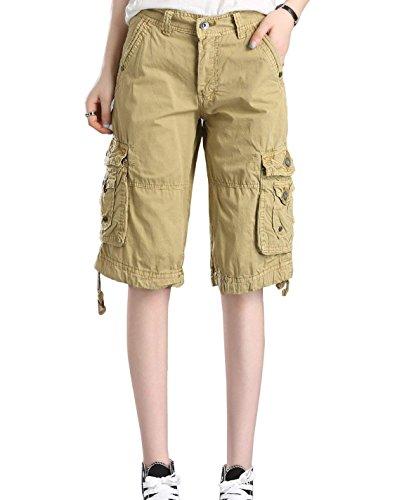 Minetom Damen 3/4-Hose Designer Cargo Shorts Capri Bermuda Kurze Stoffhose Jeanshose Reißverschluss Cargo Khaki X-Large