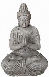 Statuette Bouddha Guanyin priant en position du lotus - maison/jardin - 66 cm (hauteur) - gris