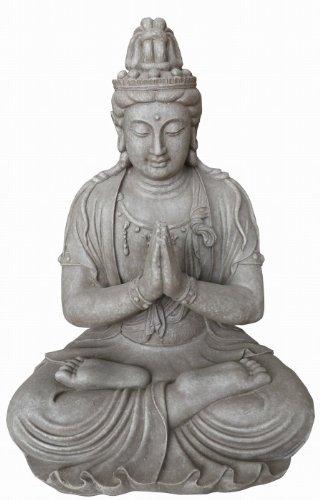 Figura de Buda Guanyin orando en la posición del loto - para casa y jardín - Altura 66 cm - gris 3