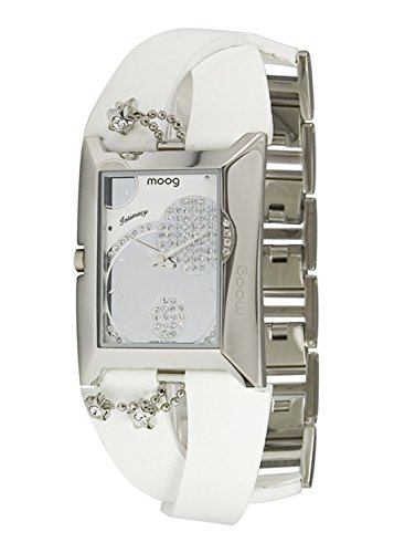 Moog Paris Intimacy Women's Watch with Silver Dial, White Genuine Leather Strap & Swarovski Elements - M44952-001