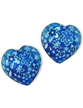 Idin Ohrclips - Blaue, facettierte Herzen mit Blumenmuster (ca. 18 x 18 mm)