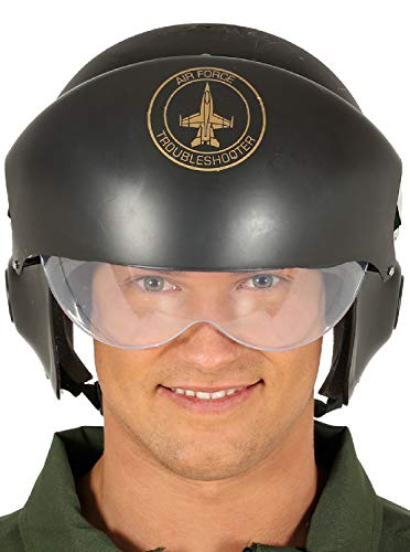 Pilot Kostüm Fighter Helm - Fancy Me Herren Damen Flieger-Kostüm Fighter Pilot Air Force Militär Notdienst TV Film Kostüm Kostüm Outfit Hut Helm