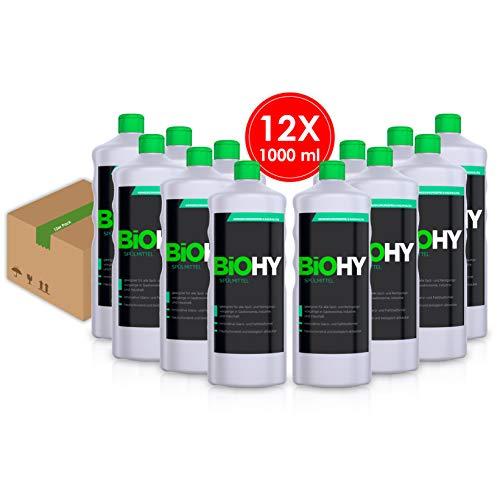 BIOHY Spülmittel 12er Pack (12x1Liter) Geschirr-Spülmittel, Ultra-Konzentrat, Hautschonend, für Gastronomie, Industrie und Haushalt, Hand-Spülmittel, Schmutz- Fett- Löser, Profi Bio-Reiniger -