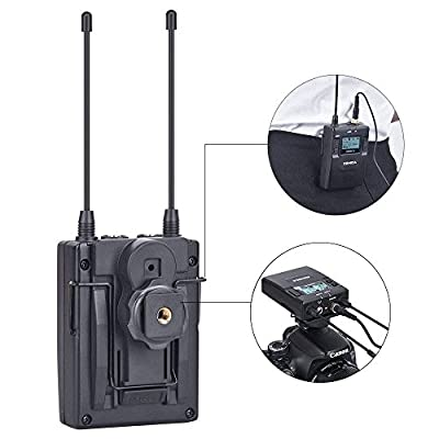 Comica CVM-WM300 84-Channel Zinc Alloy UHF Professional Chargable Dual Wireless Lavalier Microphone System for Canon 5DII 5DIII Panasonic GH4 GH5 XLR Camcorder Smartphone 394-Foot Range