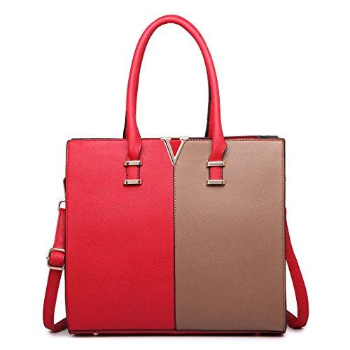 Miss Lulu , Damen Tote-Tasche 1666 Red&Brown
