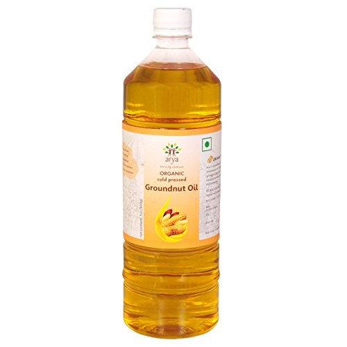 Arya Farm Natural Ground Nut Oil, 1 LTR (Cold Pressed/No Chemicals/No Pesticides/Unbleached / Unrefined/Cooking Oil)