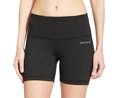 Baleaf Damen High Waist Joga Shorts Kurze Hose Bauch Kontrolle Innentasche Holzkohle Größe M (Kurze Holzkohle)