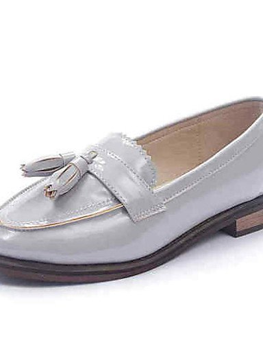 ZQ Scarpe Donna Finta pelle Piatto A punta Mocassini Casual Nero/Bianco/Grigio , gray-us8.5 / eu39 / uk6.5 / cn40 , gray-us8.5 / eu39 / uk6.5 / cn40 almond-us8.5 / eu39 / uk6.5 / cn40