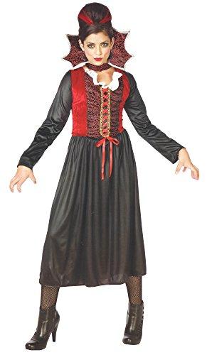Black Damen Kostüm Cat - Vampirfrau Graf Gräfin Dracula Vampir Damen Kostüm Halloween Karneval Kleid mit Kragen Samt Fasching One Size S-M-L