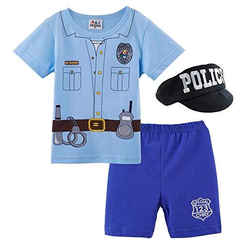 da6ed91cc2ec42 MOMBEBE COSLAND Bambino Ragazzi Polizia Costume Body con Cappello (Polizia,  6-9 Mesi