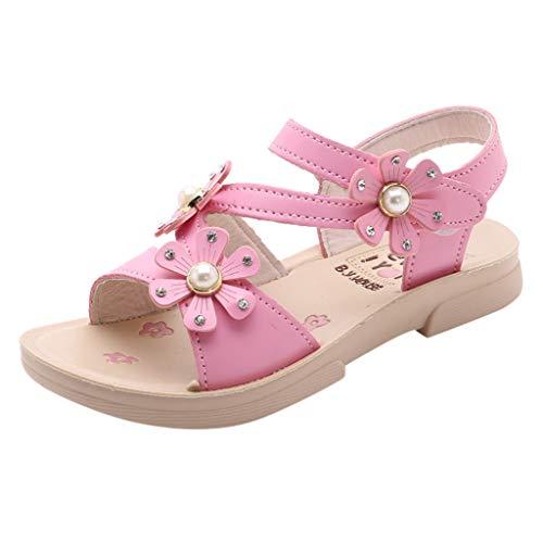 AIni Schuhe Baby,Beiläufiges Mode 2019 Neuer Sommer Kinder Mädchen böhmische beiläufige Blumen Sandelholze Prinzessin Flache Schuhe Krabbelschuhe Lauflernschuhe Kleinkinder Schuhe (22,Pink)