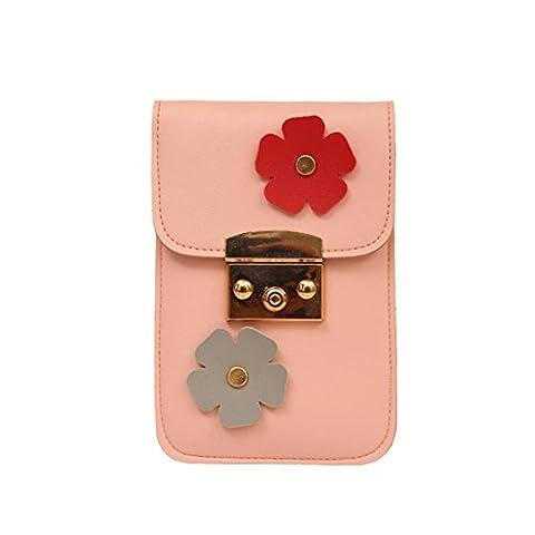 TPulling Frauen-Neue Art- Und Weisefeste Stilvoll Raffiniert Applique Floral Blumen Mini Handtasche Handy Tasche (rosa)