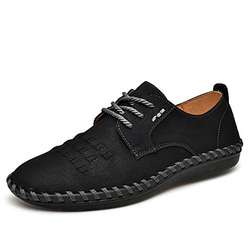 Casual Suede Shoe Herren Oxford Schuhe Formelle Schuhe Schnüren OX Leder Retro Farbe Polieren Zehen Stricken Design Atmungsaktiv Flexible Falten Herren Sneaker (Color : Schwarz, Größe : 46 EU) -