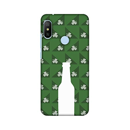 AMZER® Designer Case - Beer and Pattern with shemrock - Green for Xiaomi Redmi 6 Pro, Xiaomi Mi A2 Lite