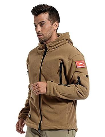 BELLOO Mens Military Combat Hoodie Fleece Jacket Full Zip, Brown L