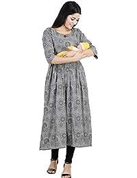CEE 18 Women's Cotton Rayon A-Line Feeding Kurta/Maternity Kurta/Easy Breast Feeding Kurti/Western Dress with Zippers for Nursing Pre and Post Pregnancy