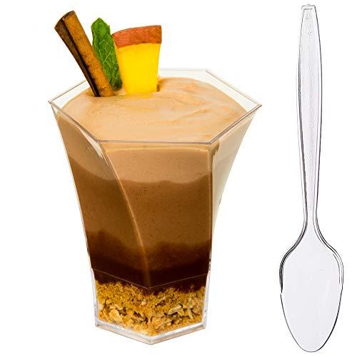 Mini Dessert Becher, Eisbecher Eis Schalen mit Rezept E-Book [klar Kunststoff, 5oz, sechseckig, groß, 24Zählen] Kleine Catering Supplies, Einweg Parfait Tasting Shooters Tumbler Gläser