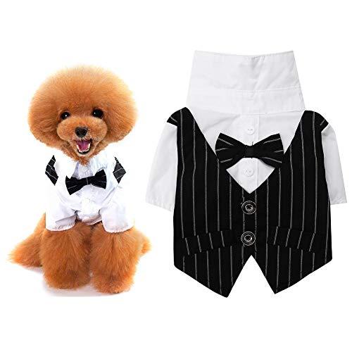 Kostüm Business Hunde - Pssopp Hund Kleidung Hochzeitsanzug Kleidung Hundehochzeit Kostüm Mantel Apparel Hund SmokingKostüme Mode Streifen Business Anzug Outfit mit eleganter Schleife Knoten Fliege (M)