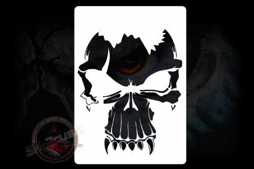 Profi Airbrush Schablone für Schädel - Totenköpfe - Skull's Kopf Stencil Tattoo