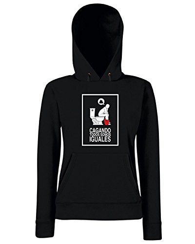 T-Shirtshock - Sweats a capuche Femme T0781 cacando todos semos iguales fun cool geek Noir