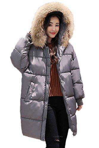 Les Femmes L'hiver Chaud À Épaissir Fausse Fourrure Les Parkas Outercoat. Grey