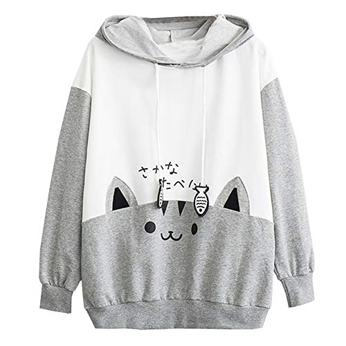 Kitty Leggings (WWricotta Womens Casual Long Sleeve Kitty Cat Print Pocket Thin Hoodie Blouse Top Shirt)