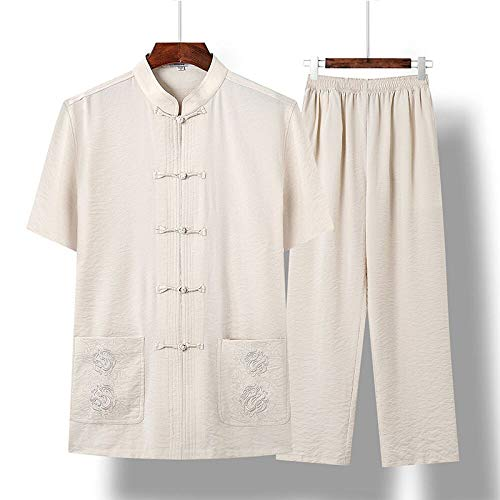 XPF Traditionelles Antikes Kostüm Kampfkunst Tangzhuang Kung Fu Langarm Jacke Anzüge Hemd Uniform,Beige-S (Antike Kostüm Geschichte)