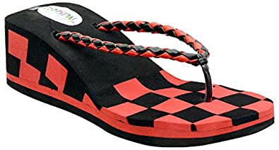 Remson India Women's Red EVA Heeled Slip On Sandals-35 EU