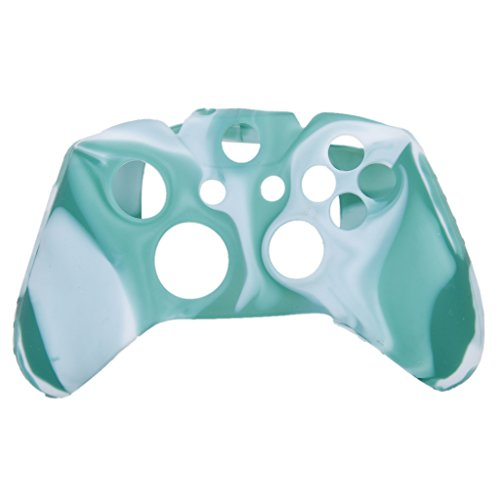 Generic Camo Soft Silicone Protective Skin Case Cover for XBOX ONE Game Controller--Green with White