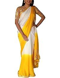 Swara Fashion Women's 60gm Padding Georgette Thread Work Saree(SFP-276_Yellow, White)