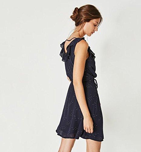 Promod Wickelkleid mit Print Marineblau gemustert