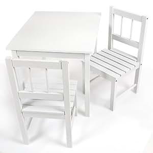 Tavolino 2 sedie per bambini legno colore bianco for Tavolino per bambino