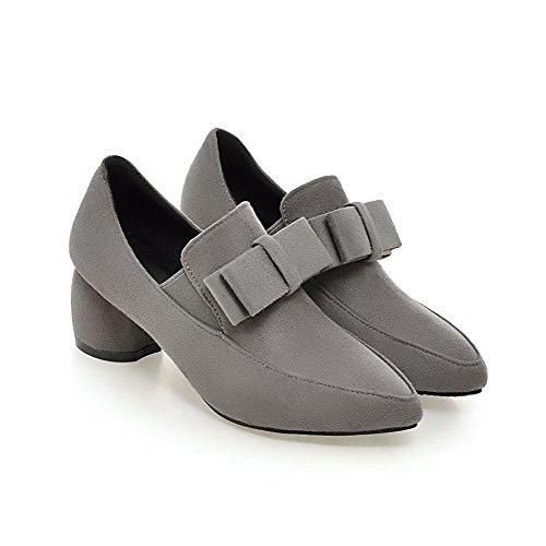 VogueZone009 Damen Mattglasbirne Spitz Zehe Mittler Absatz Ziehen Auf Rein Pumps Schuhe Grau