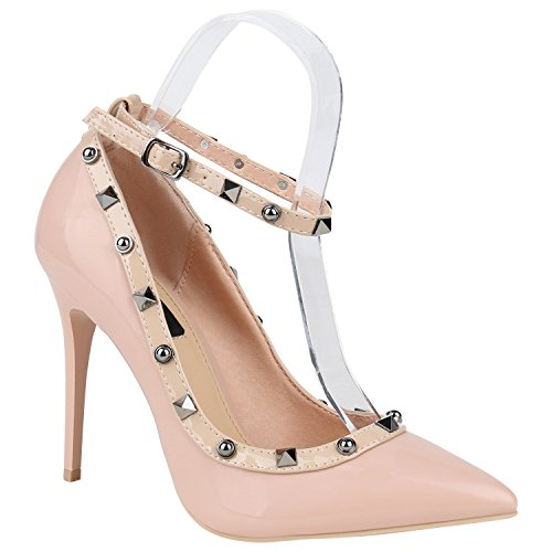 Damen Spitze Pumps Stilettos High Heels Party Schuhe Lack Nieten 151477 Rosa Bexhill 38 | Flandell®