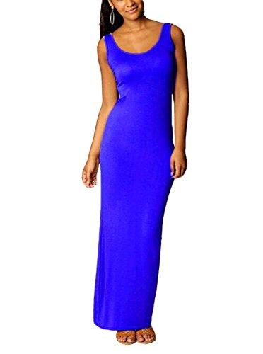 Abito da donna senza maniche con maxi maniche lunghe, vestito da cocktail Blu