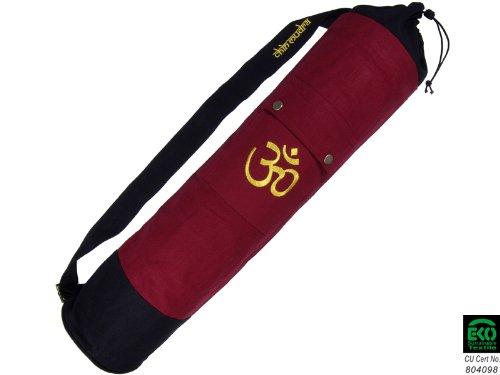 Bolsa con esterilla de yoga 100% algodón ecológico, 71cm x 15cm, Bordeaux & Noir