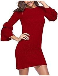 b3719af37fee Zhrui Vestito a Tubino Corto Elegante Invernale Autunnale Donna Rosso  (Colore   Rosso