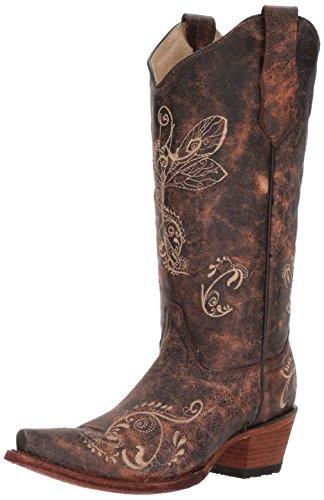 Corral Boots Circle G L5001 Brown Bone/Damen Fashion Stiefel Braun/Damenstiefel/Westernstiefel/Cowboystiefel, Groesse:40 (9.5 US) (Braun Distressed Cowboy Stiefel)