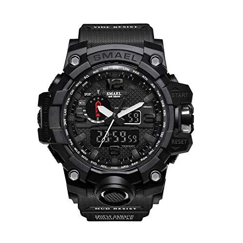 Herren-Sport-Armbanduhr, wasserdicht, 50 m, Schwarz