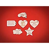 ArtigianeriA - Set di 20 (o più) etichette realizzate in legno, ideali come SEGNAPOSTO o BOMBONIERE fai da te per Battesimo, Prima Comunione, Cresima, Matrimonio, Laurea, Compleanno, Anniversario.