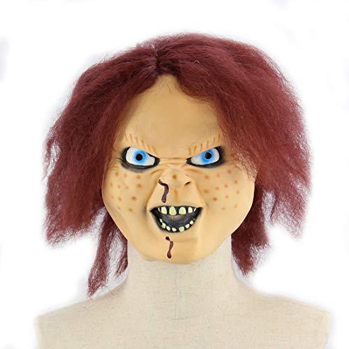 DUBAOBAO Halloween-Maske, Chuck Doll Latex Maske Halloween Bar Prom Scary Ghost Wig Halloweenkostüm Party