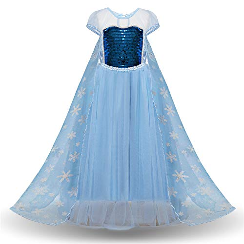 Dress Snow Queen Up Kostüm - Mädchen Prinzessin Kleider, Mädchen Pailletten Queen Princess Costume Dress Up Kurzarm Kind Mädchen Geburtstag Party Cosplay Kleid mit Mesh Snow Flake Cape Prom Pageant Kostüm Halloween Performance Dr